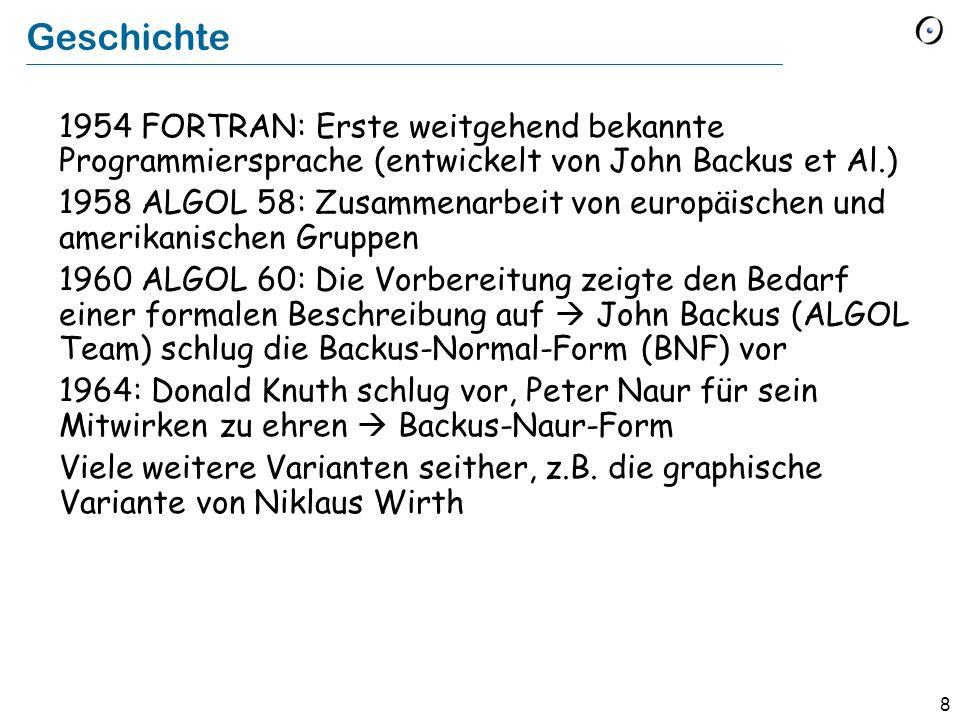 Geschichte 1954 FORTRAN: Erste weitgehend bekannte Programmiersprache (entwickelt von John Backus et Al.)
