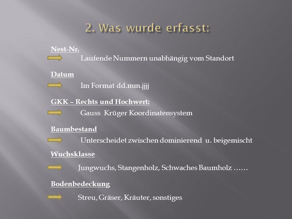 2. Was wurde erfasst: Nest-Nr.