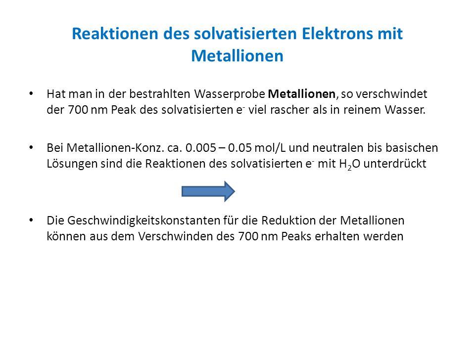 Reaktionen des solvatisierten Elektrons mit Metallionen
