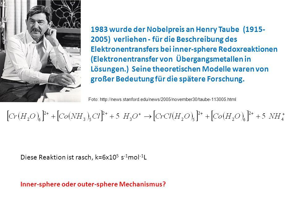 1983 wurde der Nobelpreis an Henry Taube (1915-2005) verliehen - für die Beschreibung des Elektronentransfers bei inner-sphere Redoxreaktionen (Elektronentransfer von Übergangsmetallen in Lösungen.) Seine theoretischen Modelle waren von großer Bedeutung für die spätere Forschung.