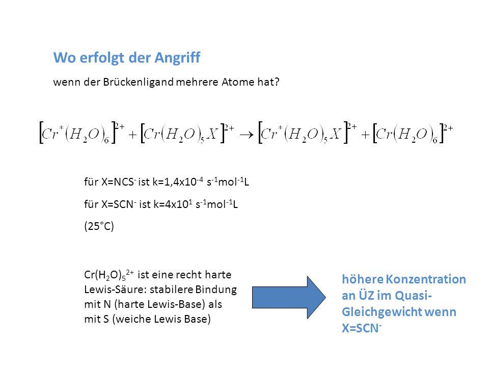 Wo erfolgt der Angriff wenn der Brückenligand mehrere Atome hat für X=NCS- ist k=1,4x10-4 s-1mol-1L.