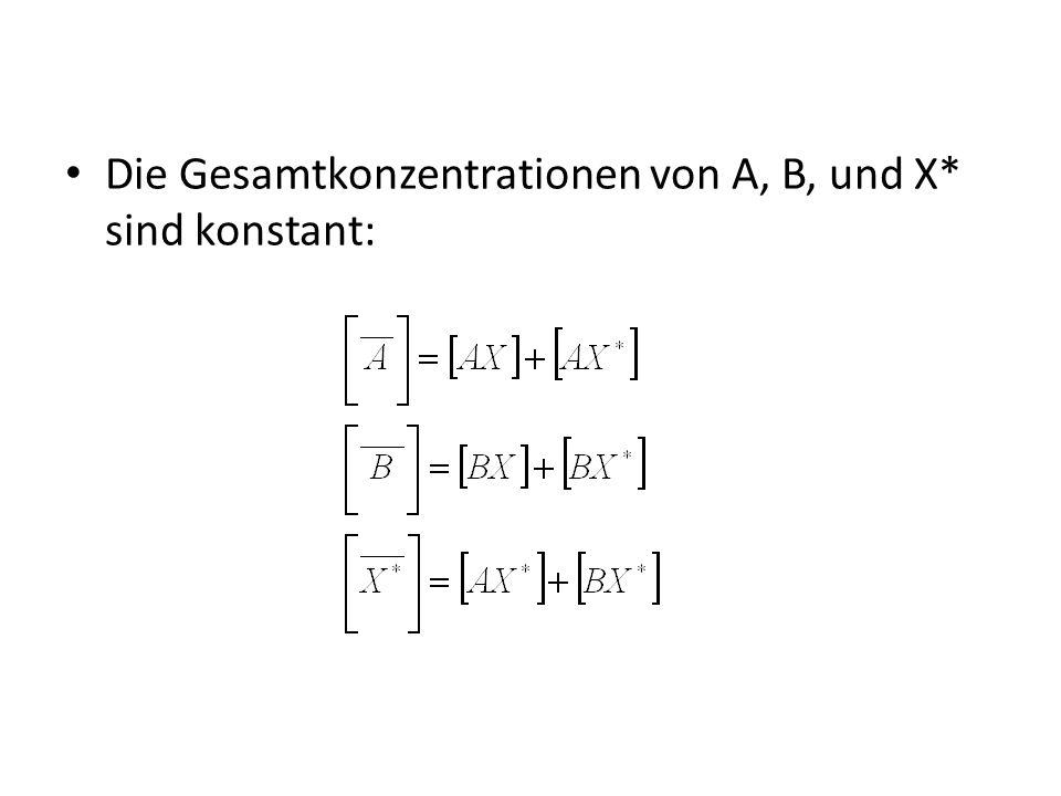 Die Gesamtkonzentrationen von A, B, und X* sind konstant: