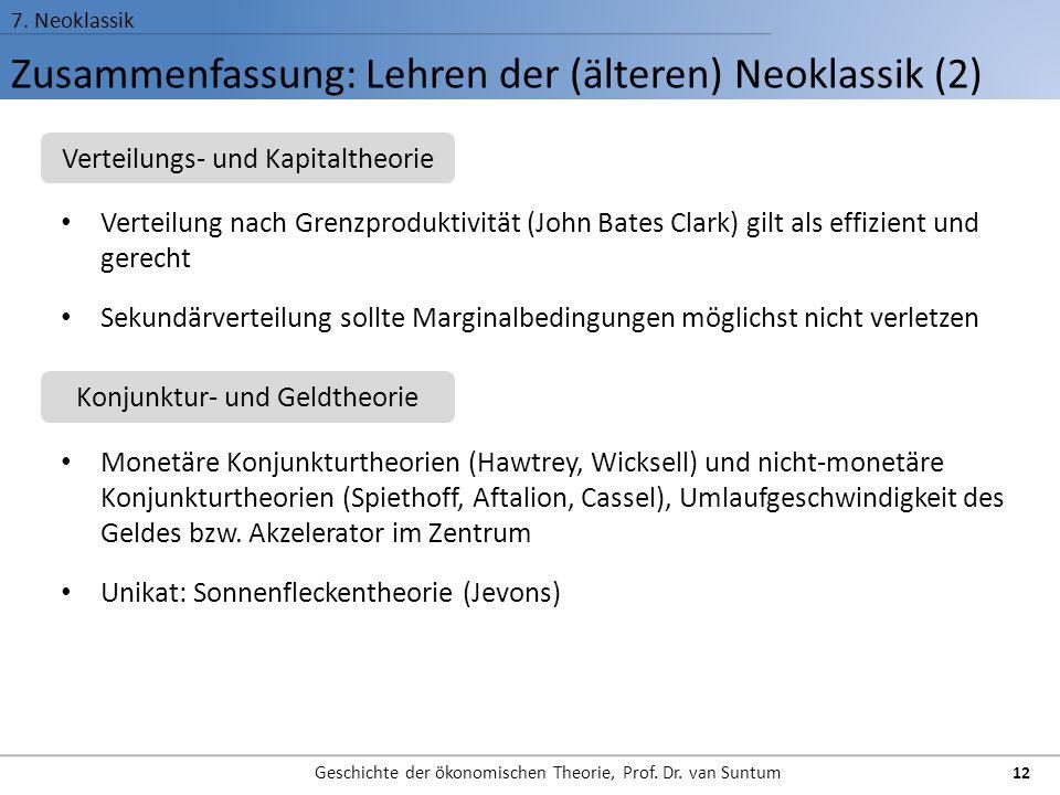 Zusammenfassung: Lehren der (älteren) Neoklassik (2)