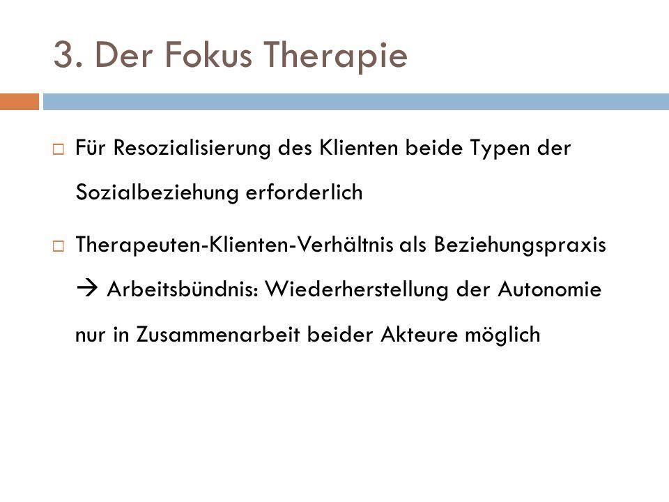 3. Der Fokus Therapie Für Resozialisierung des Klienten beide Typen der Sozialbeziehung erforderlich.