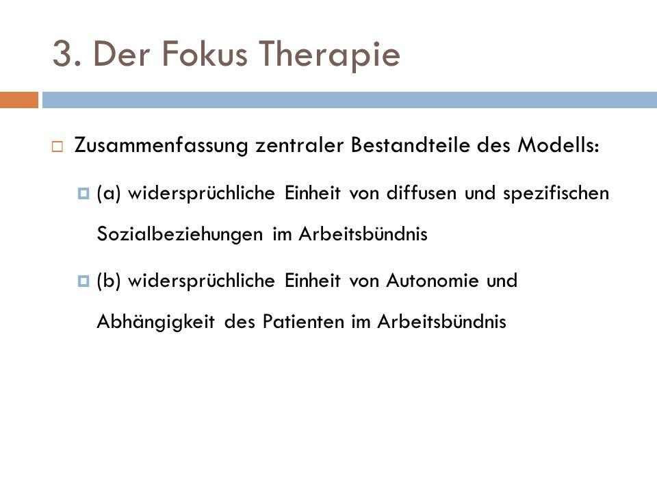 3. Der Fokus Therapie Zusammenfassung zentraler Bestandteile des Modells: