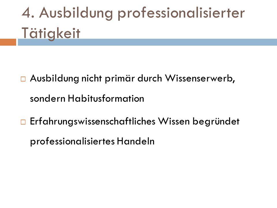 4. Ausbildung professionalisierter Tätigkeit