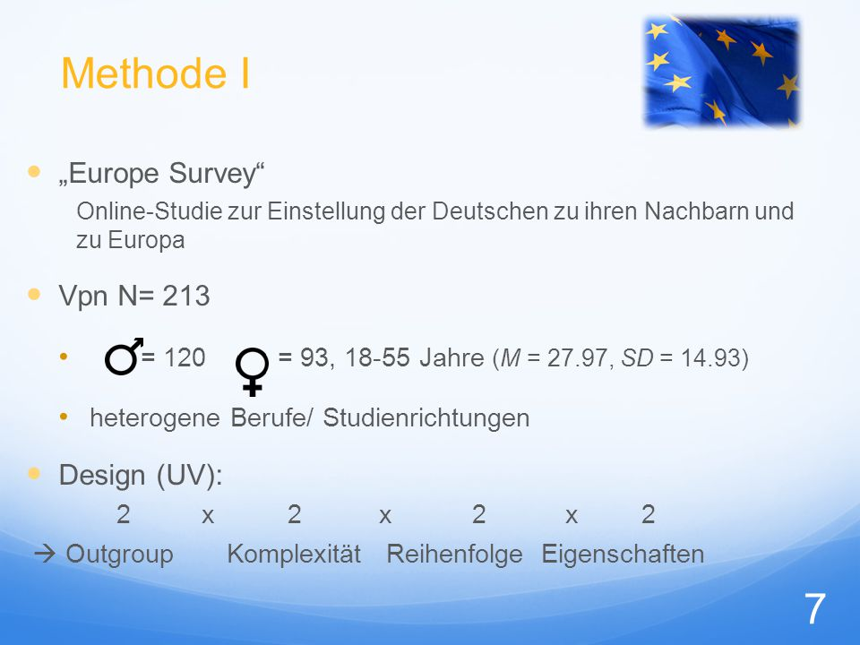 "Methode I ""Europe Survey Vpn N= 213 Design (UV):"