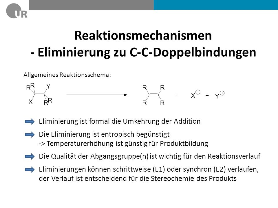 Reaktionsmechanismen - Eliminierung zu C-C-Doppelbindungen
