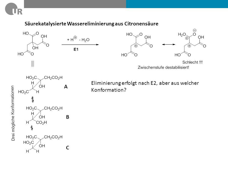 Säurekatalysierte Wassereliminierung aus Citronensäure