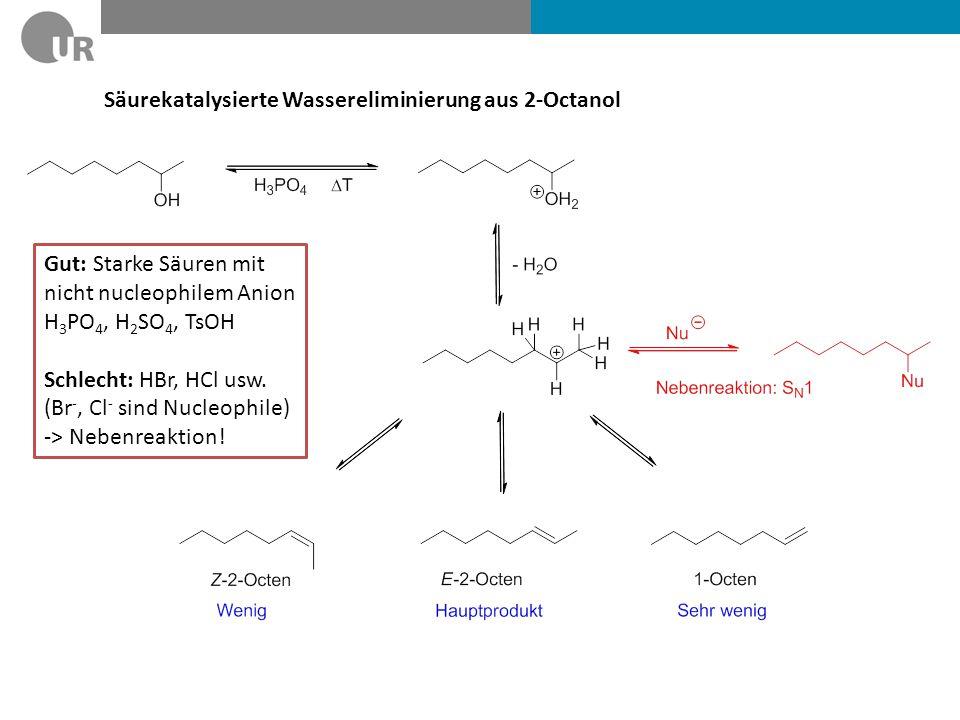 Säurekatalysierte Wassereliminierung aus 2-Octanol
