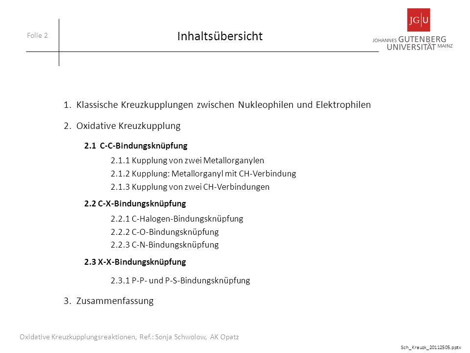 Inhaltsübersicht 1. Klassische Kreuzkupplungen zwischen Nukleophilen und Elektrophilen. 2. Oxidative Kreuzkupplung.