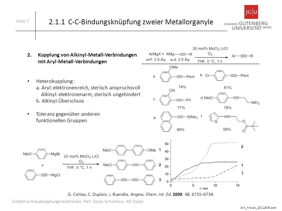 2.1.1 C-C-Bindungsknüpfung zweier Metallorganyle