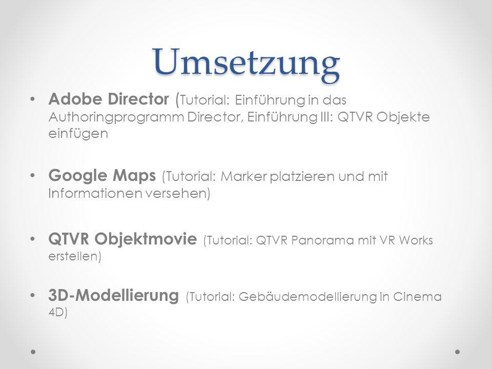 Umsetzung Adobe Director (Tutorial: Einführung in das Authoringprogramm Director, Einführung III: QTVR Objekte einfügen.