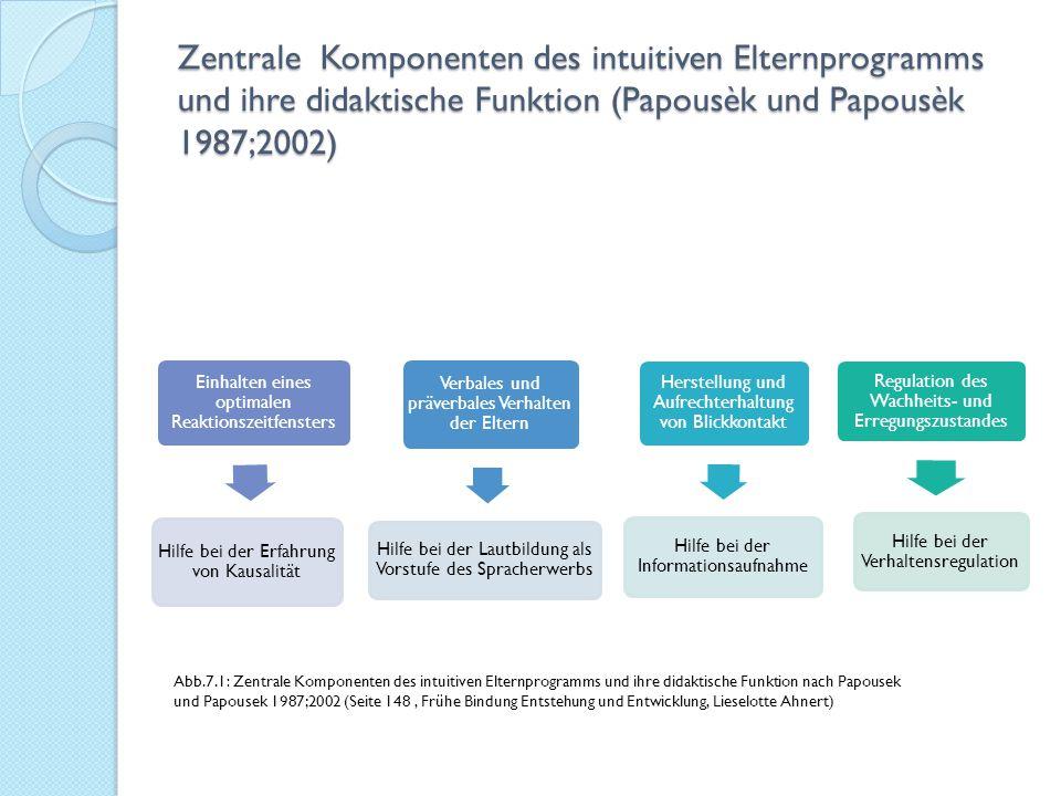 Zentrale Komponenten des intuitiven Elternprogramms und ihre didaktische Funktion (Papousèk und Papousèk 1987;2002)