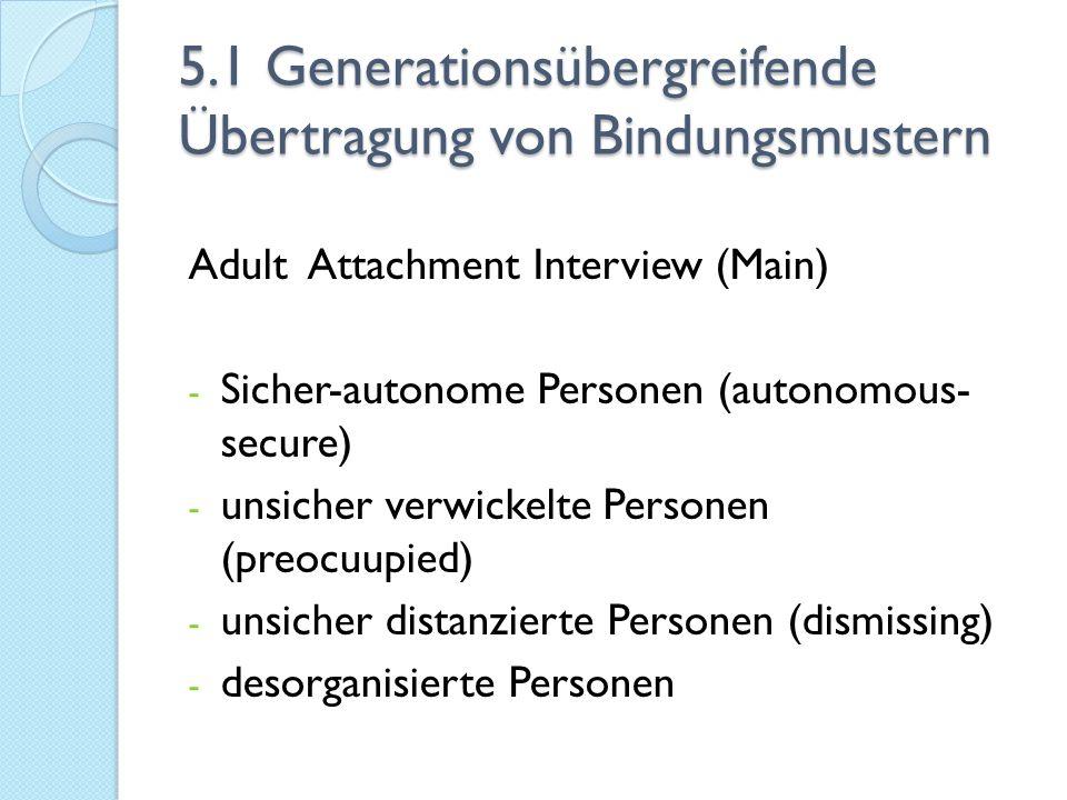 5.1 Generationsübergreifende Übertragung von Bindungsmustern