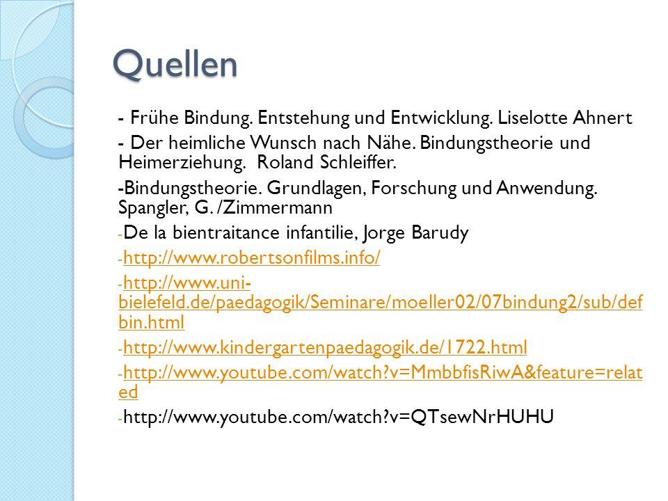 Quellen - Frühe Bindung. Entstehung und Entwicklung. Liselotte Ahnert
