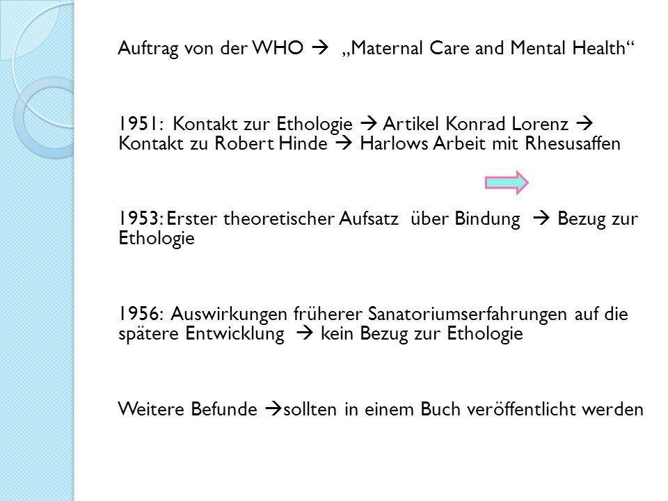 """Auftrag von der WHO  """"Maternal Care and Mental Health 1951: Kontakt zur Ethologie  Artikel Konrad Lorenz  Kontakt zu Robert Hinde  Harlows Arbeit mit Rhesusaffen 1953: Erster theoretischer Aufsatz über Bindung  Bezug zur Ethologie 1956: Auswirkungen früherer Sanatoriumserfahrungen auf die spätere Entwicklung  kein Bezug zur Ethologie Weitere Befunde sollten in einem Buch veröffentlicht werden"""
