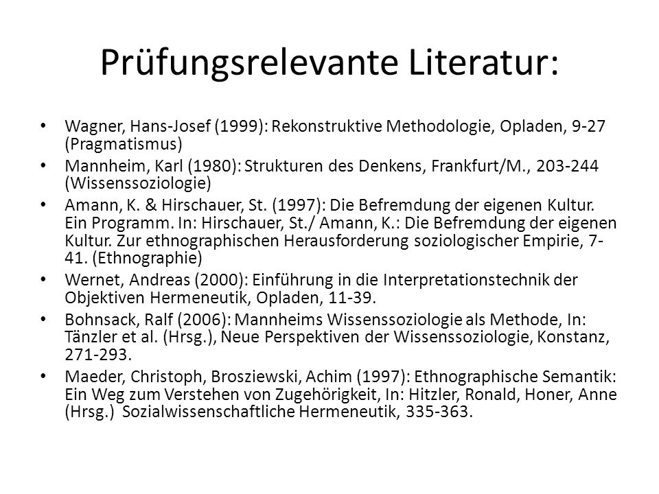 Prüfungsrelevante Literatur: