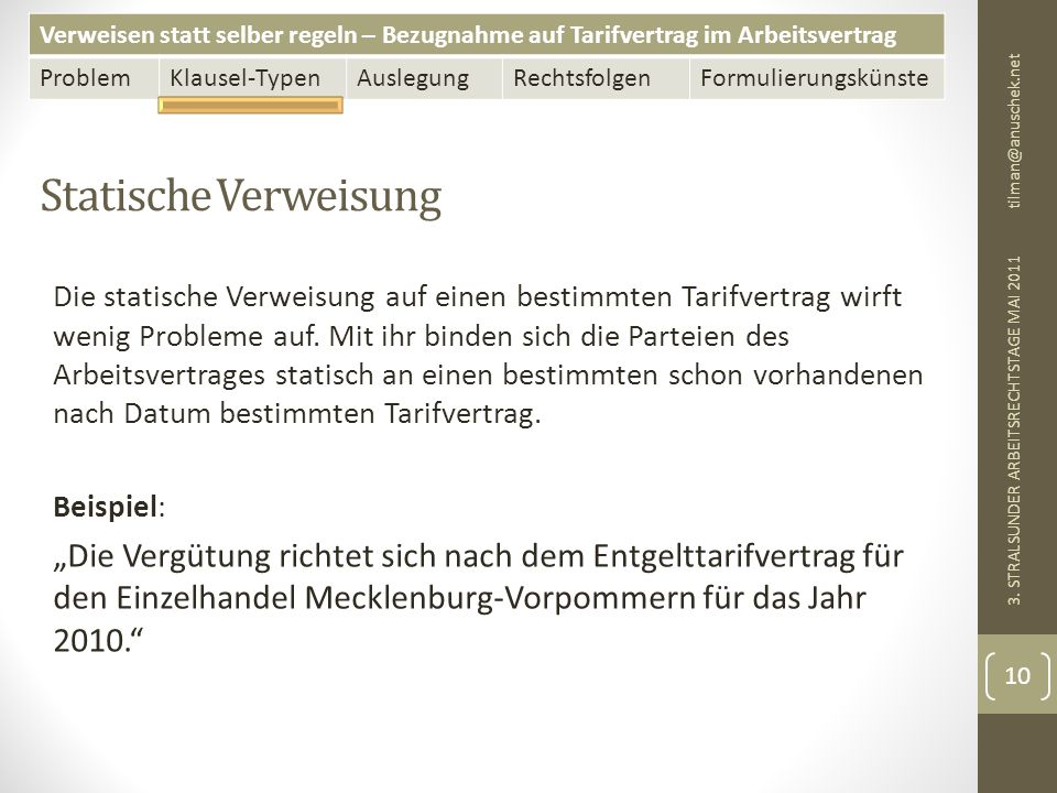 13. Mai 2011 tilman@anuschek.net. Statische Verweisung.