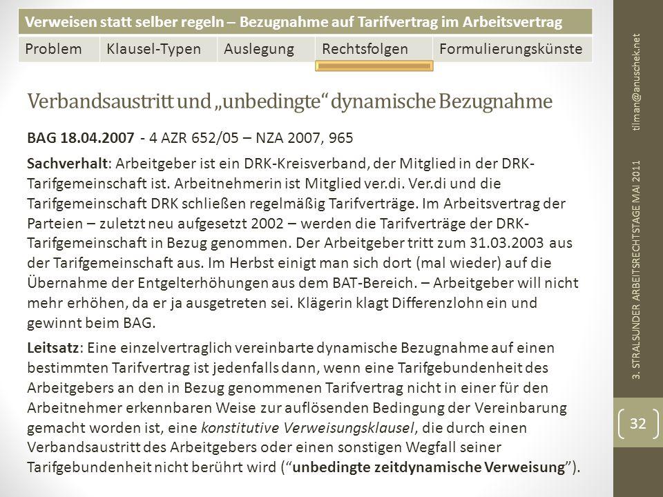 """Verbandsaustritt und """"unbedingte dynamische Bezugnahme"""