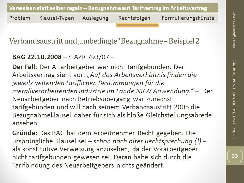 """Verbandsaustritt und """"unbedingte Bezugnahme – Beispiel 2"""