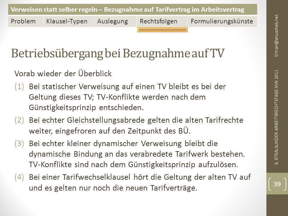 Betriebsübergang bei Bezugnahme auf TV