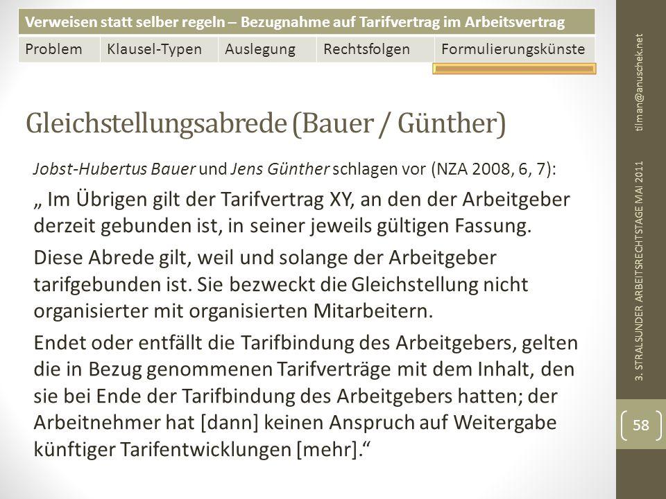 Gleichstellungsabrede (Bauer / Günther)