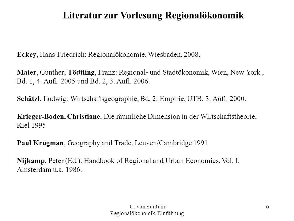Literatur zur Vorlesung Regionalökonomik