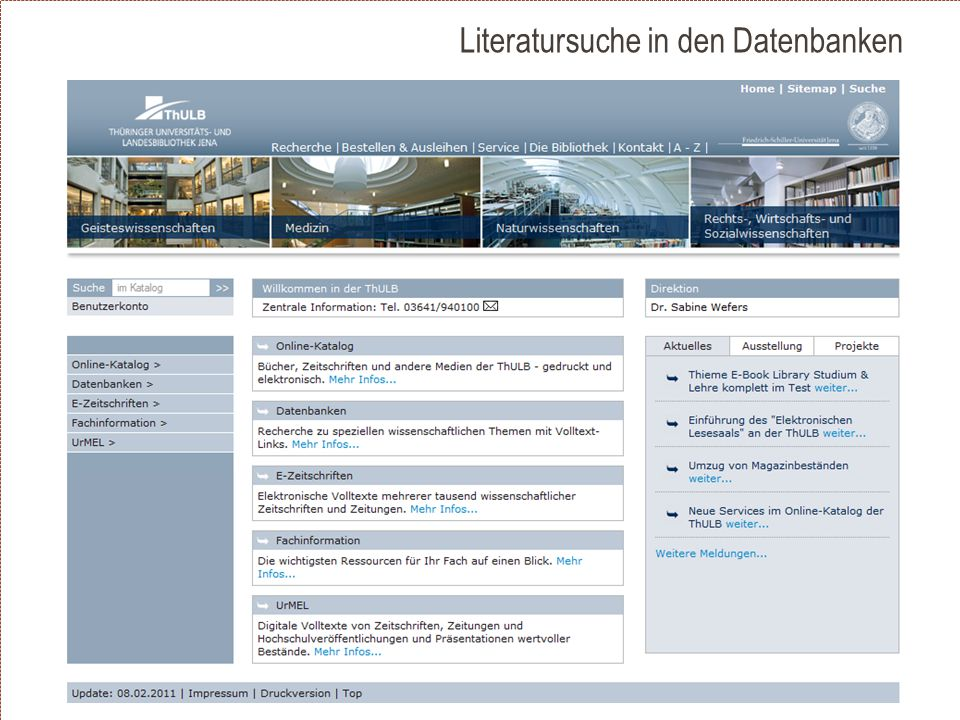 Literatursuche in den Datenbanken