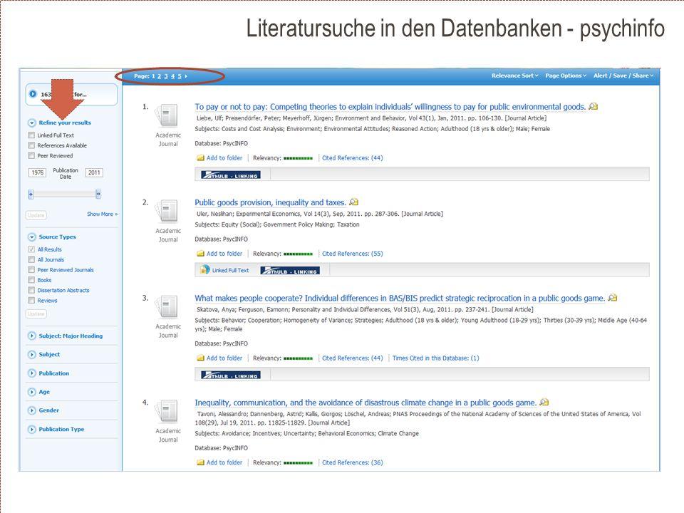 Literatursuche in den Datenbanken - psychinfo