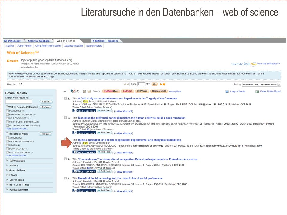 Literatursuche in den Datenbanken – web of science