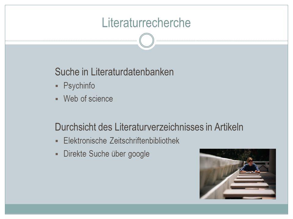 Literaturrecherche Suche in Literaturdatenbanken