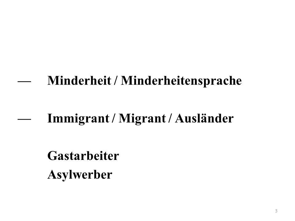 — Minderheit / Minderheitensprache — Immigrant / Migrant / Ausländer Gastarbeiter Asylwerber