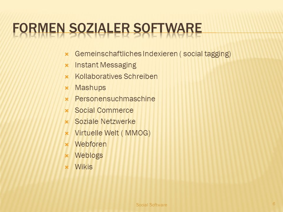 Strukturierung der Anwendungen Sozialer Software nach Schmidt