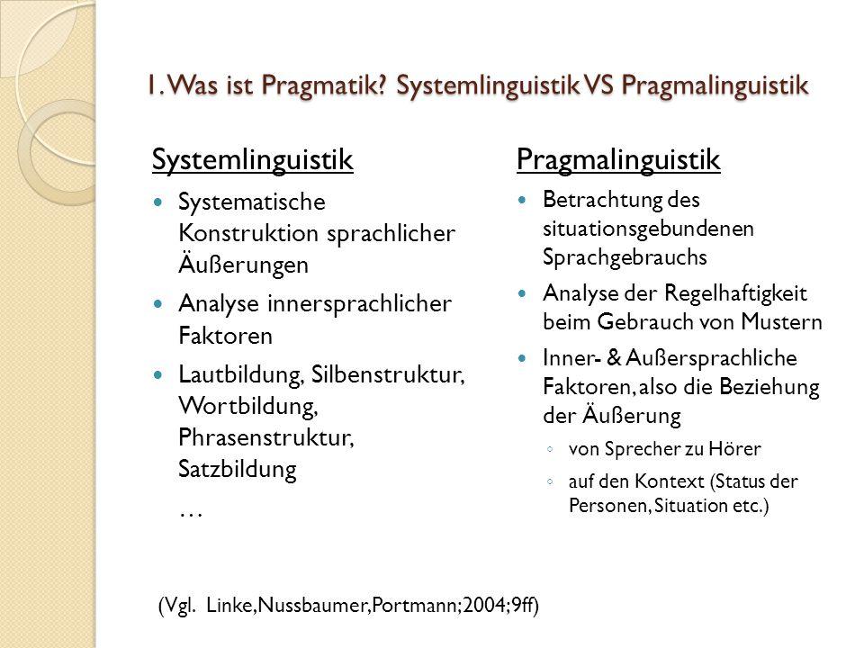 1. Was ist Pragmatik Systemlinguistik VS Pragmalinguistik