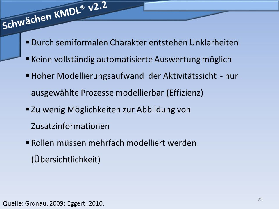 Schwächen KMDL® v2.2 Durch semiformalen Charakter entstehen Unklarheiten. Keine vollständig automatisierte Auswertung möglich.