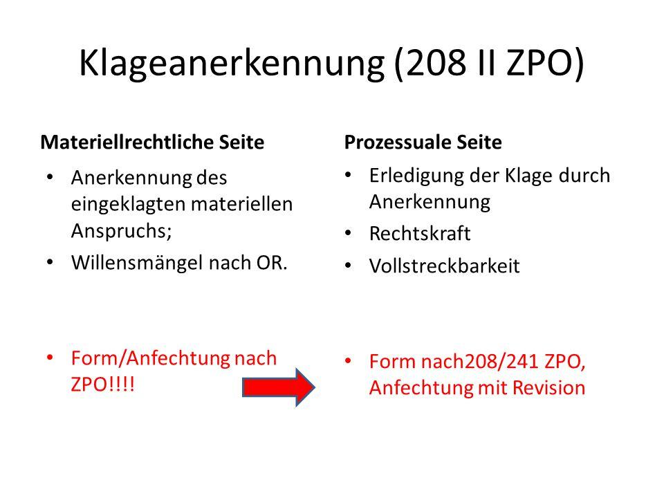 Klageanerkennung (208 II ZPO)