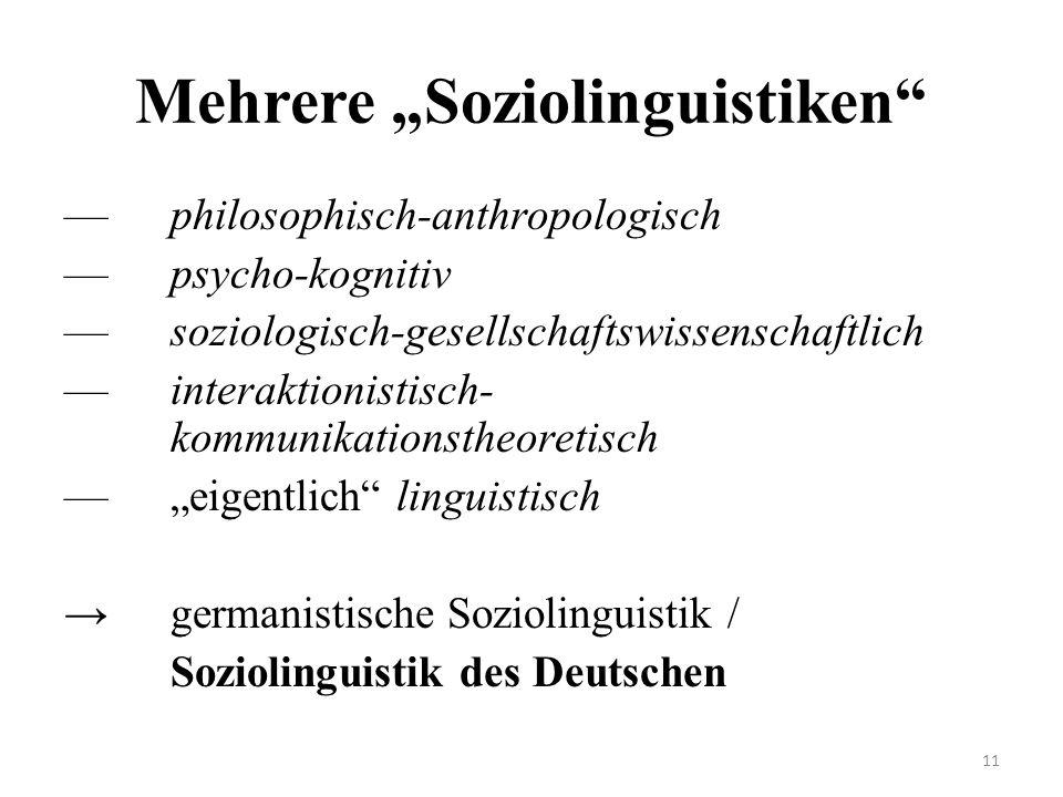 """Mehrere """"Soziolinguistiken"""