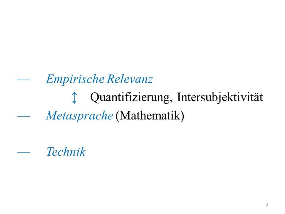 — Empirische Relevanz ↕ Quantifizierung, Intersubjektivität — Metasprache (Mathematik) — Technik