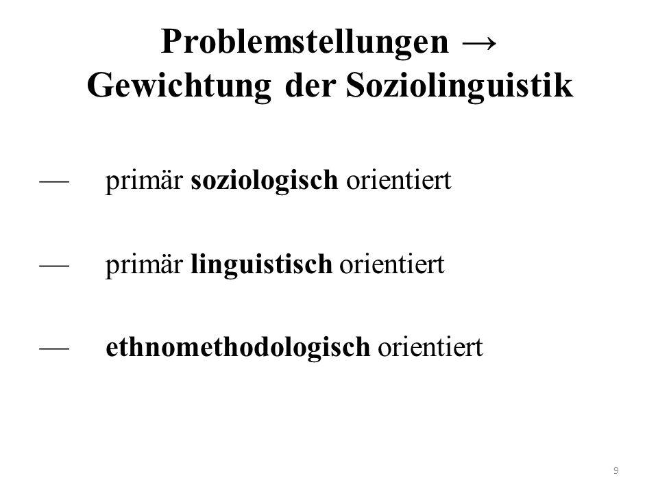 Problemstellungen → Gewichtung der Soziolinguistik