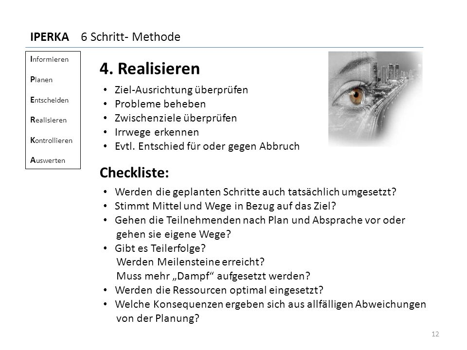 4. Realisieren Checkliste: IPERKA 6 Schritt- Methode