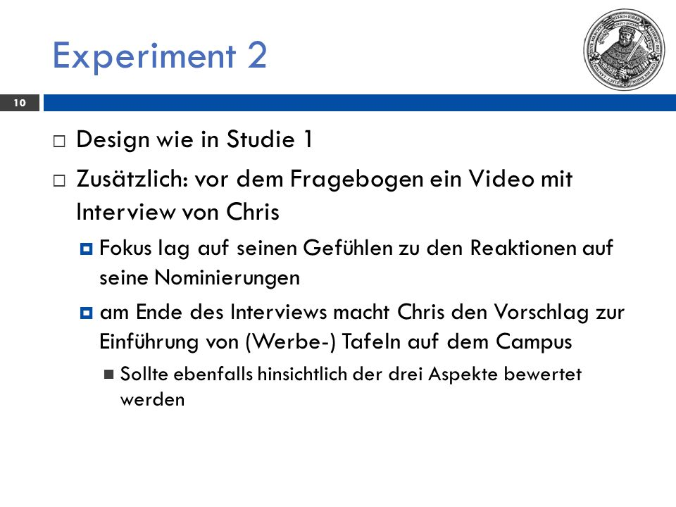 Experiment 2 Design wie in Studie 1