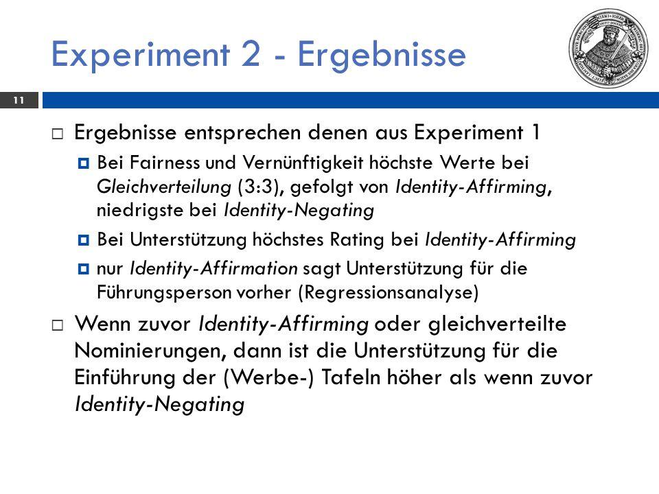 Experiment 2 - Ergebnisse