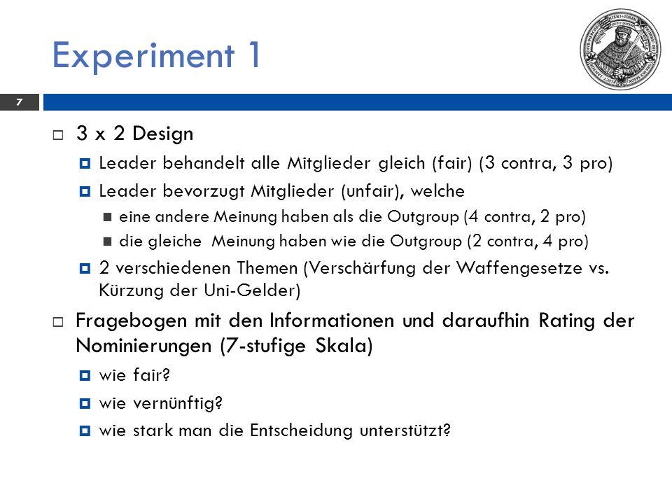 Experiment 1 3 x 2 Design. Leader behandelt alle Mitglieder gleich (fair) (3 contra, 3 pro) Leader bevorzugt Mitglieder (unfair), welche.