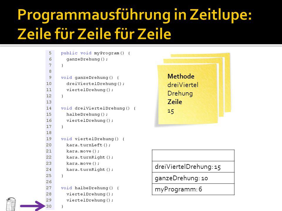 Programmausführung in Zeitlupe: Zeile für Zeile für Zeile