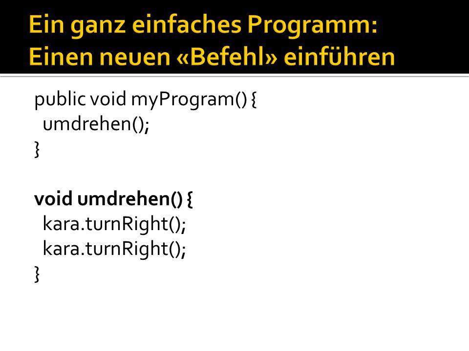 Ein ganz einfaches Programm: Einen neuen «Befehl» einführen