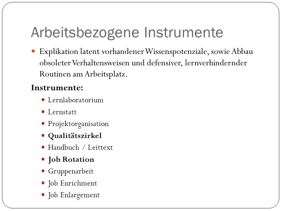 Arbeitsbezogene Instrumente