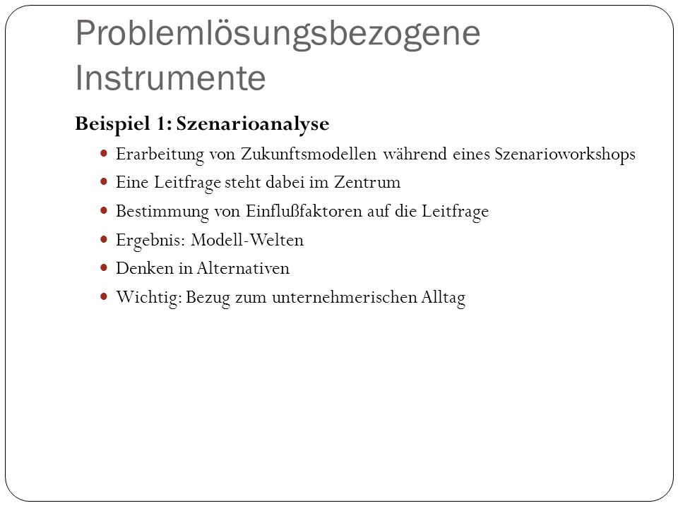 Problemlösungsbezogene Instrumente