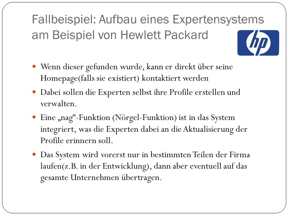 Fallbeispiel: Aufbau eines Expertensystems am Beispiel von Hewlett Packard