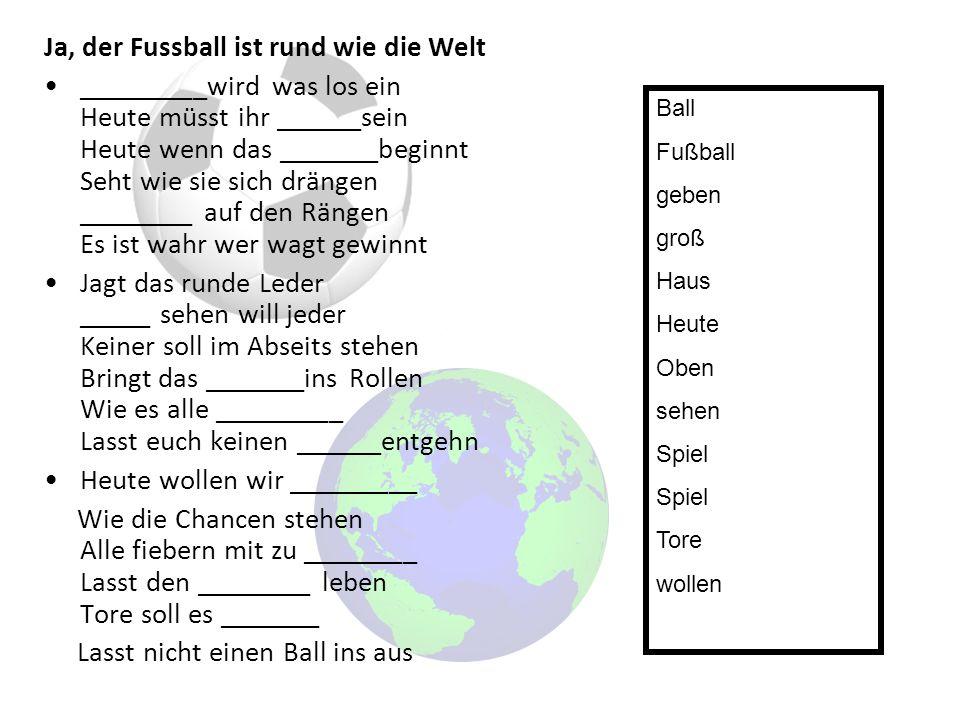 Ja, der Fussball ist rund wie die Welt